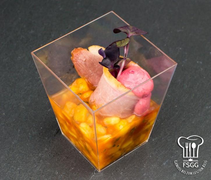 Geräucherte Entenbrust · Mango